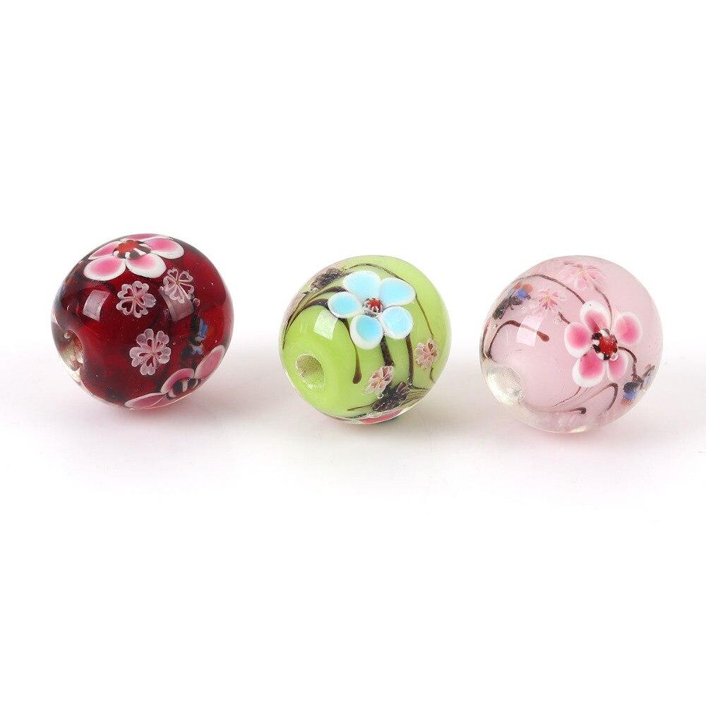 10pcs handmade Lampwork glass round Beads flower 14mm---pink dot