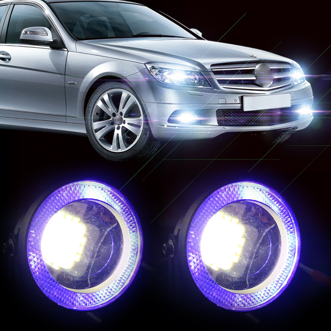 2pcs 2.5 10W White LED Projector Fog Lens DRL Driving Light with Blue LED Angel Eye Halo Ring For Ford BMW Kia Honda VW Audi<br><br>Aliexpress