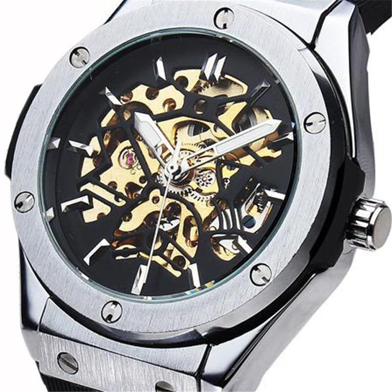 2017 new fashion men male forsining brand stylish skeleton clock rubber design classic automatic mechanical wrist sport watch<br><br>Aliexpress