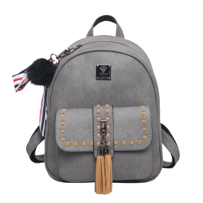 2016 New Double Tassel Women Backpacks Fashion PU Leather Lady Backpack Quality Fashion Girls School Bag Retro stitch Backpack<br><br>Aliexpress