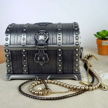 European Classical Wedding Gift The Pirate Chest Princess Zinc Alloy Jewelry Storage Box With A Lock(China)