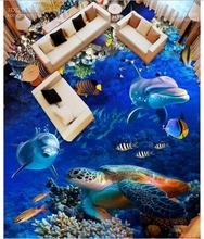 Custom photo Waterproof floor wallpaper Dolphins and sea turtles 3d mural PVC wallpaper self-adhesion floor wallpaer