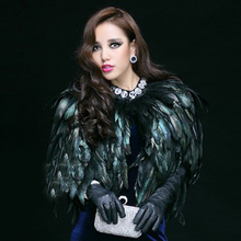 Luxury Black Ostrich Feather Coats Wedding Fur Boleros 2017 Bridal Shawls for evening Drama dresses Wedding Accessories B147