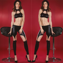 Hot Sale Women PVC Teddy Bodysuit Lingerie Sexy Wetlook Jumpsuit Black Wet Lace up Bodysuit