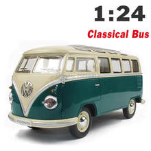 VW Classical Minibus 1:24 Alloy Diecast Model Car Toy Bus MiniVan As Gift Collection For Boy Children(China)