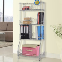 Langria 4-Tier Classic Metal Wire Bookshelf Storage Rack Shelving Unit Organization Racks for Books Kitchen Toy Bedroom Bathroom(China)