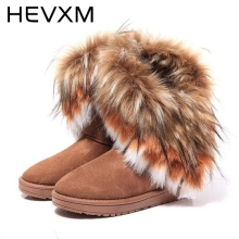 HEVXM Autumn And Winter Fashion Fox Fur Warm Wedges Snow Women Boots Shoes Genuine IMitation Lady Short Boots Casual Snow Shoes(China)