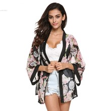 New Fashion Ladies' Floral Pattern Chiffon Cardigan Loose Outwear Casual Tops Elegant Cape Lady Kimono Blouses #005
