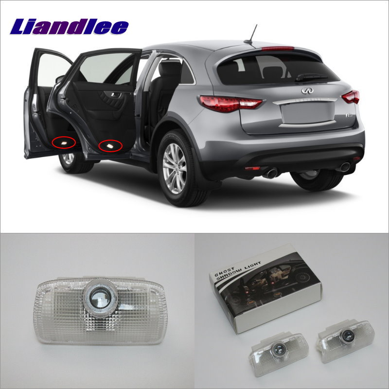 Liandlee Car Door Ghost Shadow Lights For Infiniti FX 2007~2013 Courtesy Doors Lamp / Brand Logo LED Projector Welcome Light<br>
