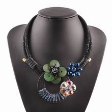 2017 new handmade christmas jewelry black bib rope chain sexy chunky wood colorful crystal flower pendant necklace for women