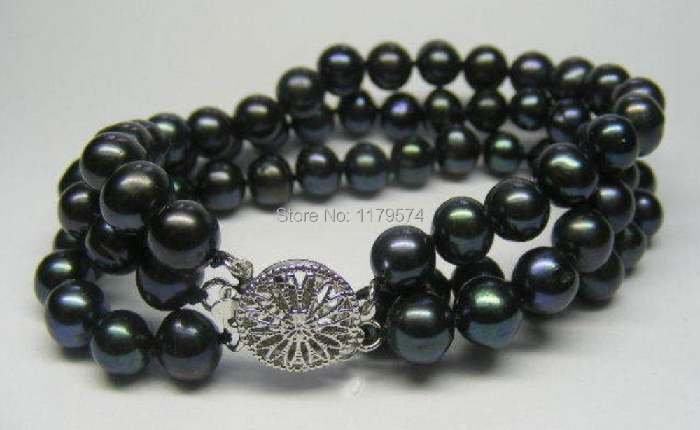 "Among the 3 ROWS 7-8MM Black all-match girl Akoya Cultured Pearl Bracelet 7.5 ""beads jewelry making YS0287(China)"