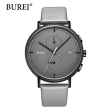 2017 New Top Brand Luxury Watches BUREI mens Multifunction Watch Leather Strap Males Big Face clock Waterproof Wristwatches Hot