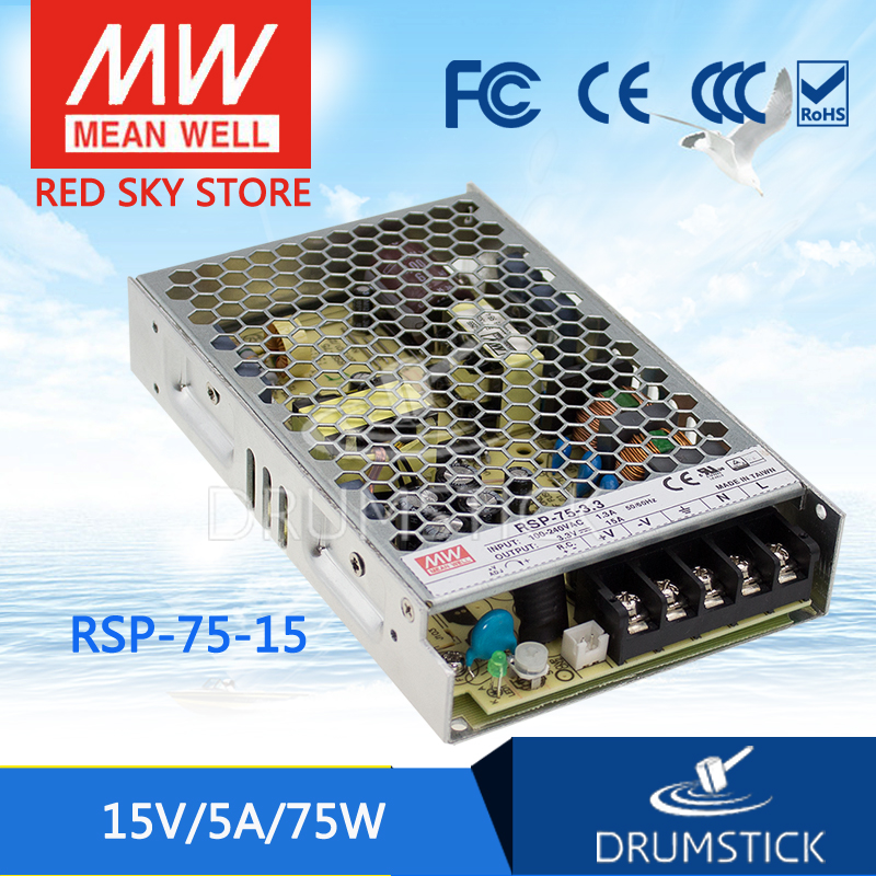 hot-selling MEAN WELL RSP-75-15 15V 5A meanwell RSP-75 15V 75W Single Output with PFC Function Power Supply [Real1]<br>