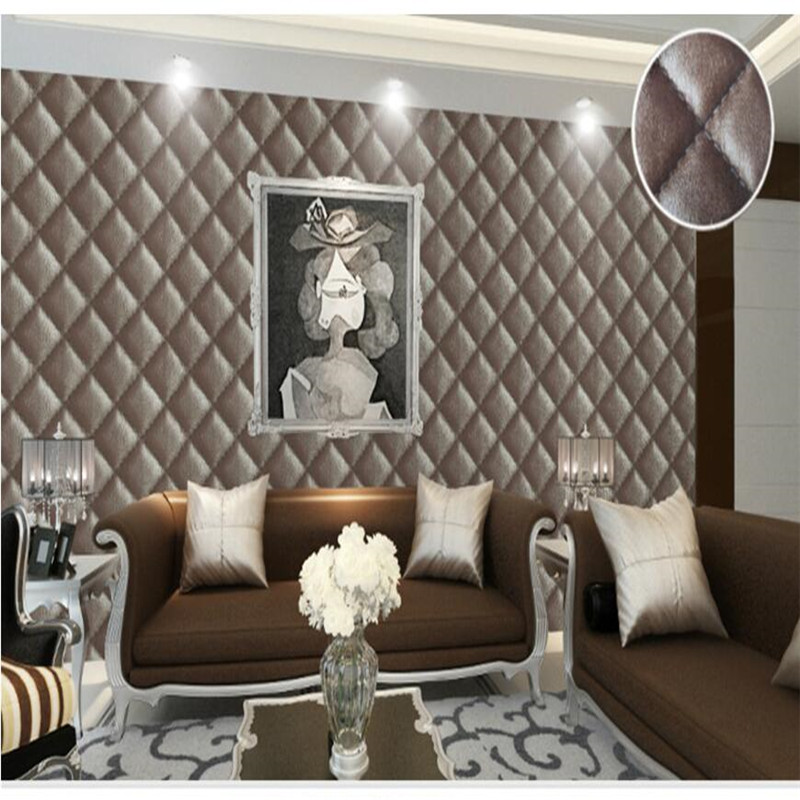 Modern Wallpaper Imitation Leather Pattern Soft Package Bedroom Living Room Sofa Film TV Wallpaper Backdrop Wall Paper Roll<br>