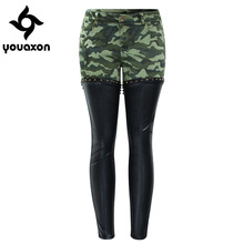 2097 Youaxon PU Leather Patchwork Camouflage Cropped Ankle Jeans Women Low Waist Stretchy Denim Pants Skinny Pencil Jeans Woman(China)