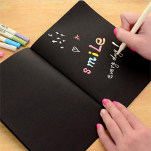 1pc Notebook Black Paper Diary Notebook 16K 32K 56K Sketch Pad Graffiti Painting Stationery Gift(China)