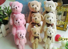 Size BIG 13CM 3Colors For Choice - Plush TOY Joint Bowtie Teddy Bear Plush Stuffed TOY Wedding Gift Bouquet DOLL TOY