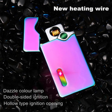 2017 New Heating Wire Lighter USB Dazzle Colour Lamp Double-sided Ignition Rechargeable Windproof Lighter Factory Outlet(China)
