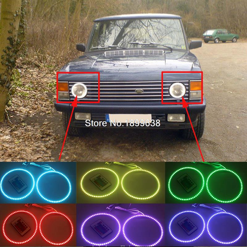 Super bright 7 color RGB LED Angel Eyes Kit with a remote control car styling for Land Rover Range Rover Classic 1987-1994 7<br>