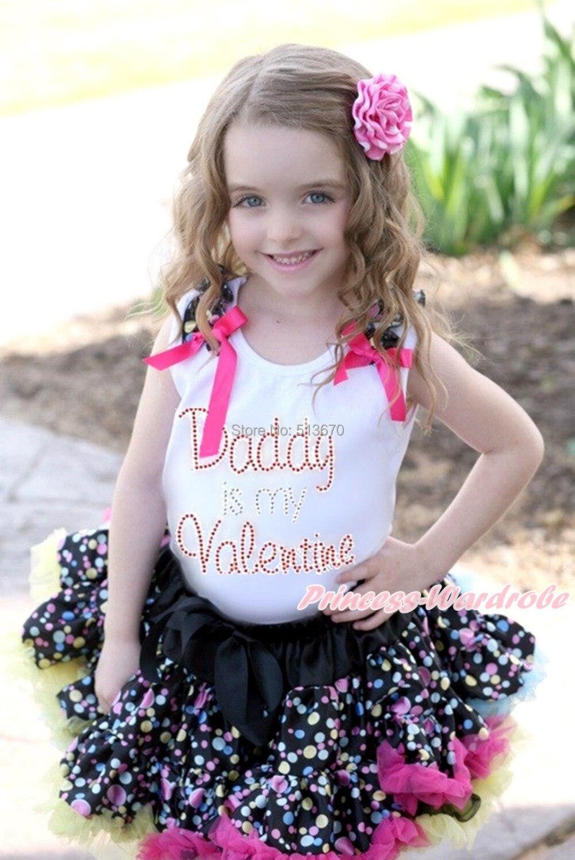 White Pettitop Rhinestone Daddy Is Valentine Black Rainbow Dot Pettiskirt 1-8Y MAPSA0161<br>