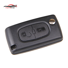 2 Buttons Folding Flip Remote Key Case Shell Blade Without Groove With Battery Holder For PEUGEOT 107 207 307 308 407 KEY-T-9(China)