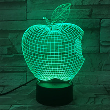 Personality 3D Visual LED home lighting Table Lamp Apple Shape Colorful Decorative Night Light Veilleuses Pour Enfants fixtures