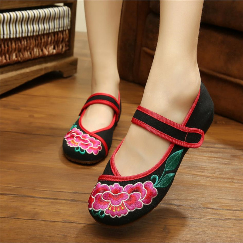 Old Peking Shoes Womens Shoes Flat Heel Flats with Embroidery Soft Sole Canvas Shoes Dancing Shoes Red and Black Colors<br><br>Aliexpress