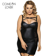 RE7859 Comeonlover M.XL.2XL.3XL 2017 black sexy club wear clothing womens Leather dresses plus size dress for fat striped dress(China)