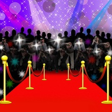 10x10FT News Press Conference Journalists Spots Light Red Carpet Stage Custom Photography Studio Backdrop Backgrounds Vinyl 3x3m(China)
