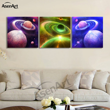 3 Piece Picture Outer Space Amazing Planet Painting for Living Room Modern Home Decor Wall Art Canvas Prints No Frame(China)