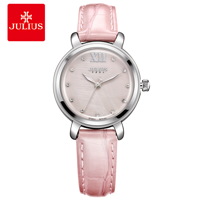 JULIUS Pink Watch Leather Bracelet Women Watches Clock For Women Water Resistant Whatch Birthday Valentine Gift for Girl JA-945<br>