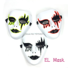 Diy Party Design Neon Led Strip Vendetta Horror Mask Light Up Fools Day Bleeding Face as Rave Costume Party Fluorescent Props(China)