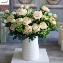 keythemelife 6 Branches Fake Peony Flower Silk Flower Autumn Artificial Flowers Wedding Home Party Decoration Hot Sale 6C