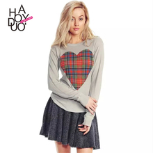 Women T-Shirt Long Sleeve Graphic Tees Women Clothes Top Womens Spring T Shirt heart-shaped British grid print Kleding Vrouwen
