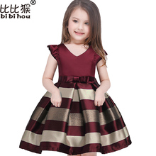Girl dress New bow stripes princess dress of girls Baby girl reception formal dresses girl party dress 2017 Christmas clothes(China)
