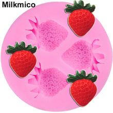 Milkmico M056 New Food Grade silicone Lovely Strawberry Fondant mold,Cake sugarcraft Gum Paste decoration mold.(China)