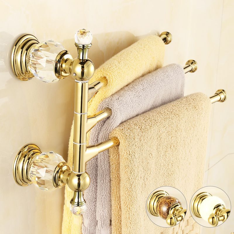 Antique Solid Brass Gold Towel Rack Crystal&amp;Diamond Towel Bar 3 Rails 41CM Wall Mounted Towel Racks<br><br>Aliexpress