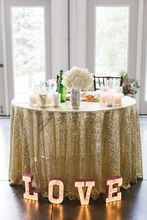 10PCS Embroidered Light Gold Sequin tablecloth 120 round table cover for wedding/Party/Banquet Decor elegant table Cloth(China)