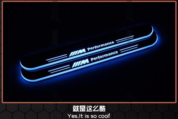 WOOBEST Waterproof Ultrathin Acrylic LED door sill for BMW Led moving door scuff plate, Pathway light , 2pcs front door lamp<br><br>Aliexpress
