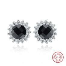 Stud Earrings Black Stone 925 Sterling Silver Women Earrings Jewelry Wholesale Birthday Gift DE264