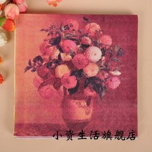 20 pcs Retro Red Flower Napkins Tissue Paper 100% Virgin Wood Tissue for Wedding Party Decoration