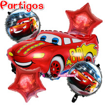 5pcs/lot Cartoon Red Blue Car Foil Helium Balloons star Inflatable children classic toys Theme Birthday Party Decor Supplies