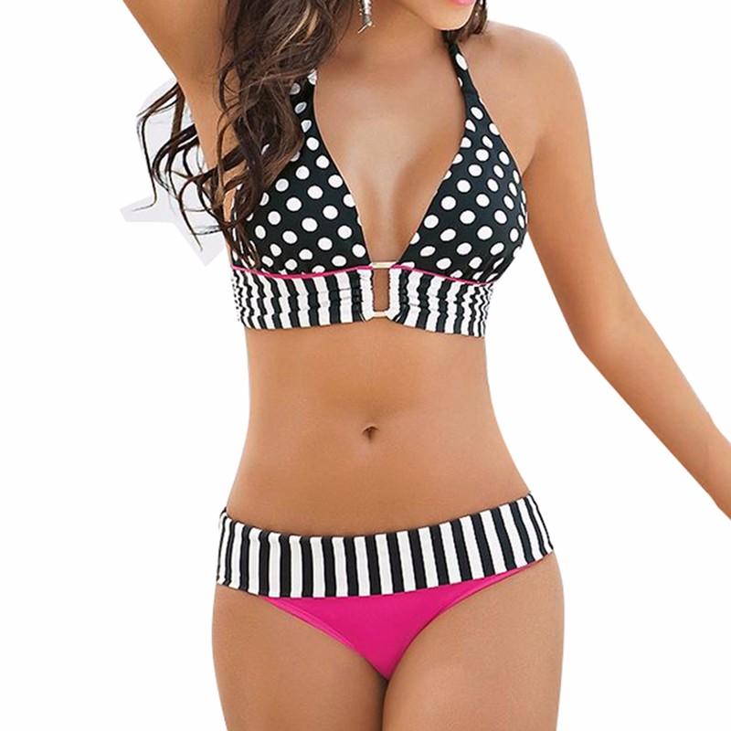StarHonor Woman Brazilian Retro Polka Dot Halter Two-piece Suits Bra Bikinis Set Stripe Bathing Suit Swimwear Plus Size S-4XL 6