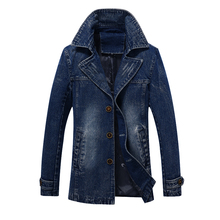 Men Denim Jackets Men Coat Long Section Fashion Trench Coat  Masculina  Homme Brand Casual Fit Overcoat Jacket Outerwear