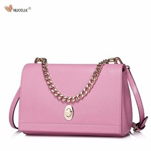 NUCELLE New Brand Design Fashion Lock Catch Chain Genuine Leather Lady Women Handbag Shoulder Crossbody Bags Gift For Girls