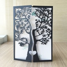 50/pcs wedding party invitaiton card wedding place cards latest invitation card laser cut tree with love birds design QJ-178(China)