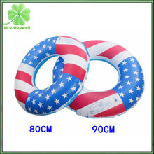 80CM/90CM USA Flag PVC Inflatable Swimming Tubes Laps Ring Swim Arm Rings Lifebuoy Float Raft Water Pool Thicken Environmental