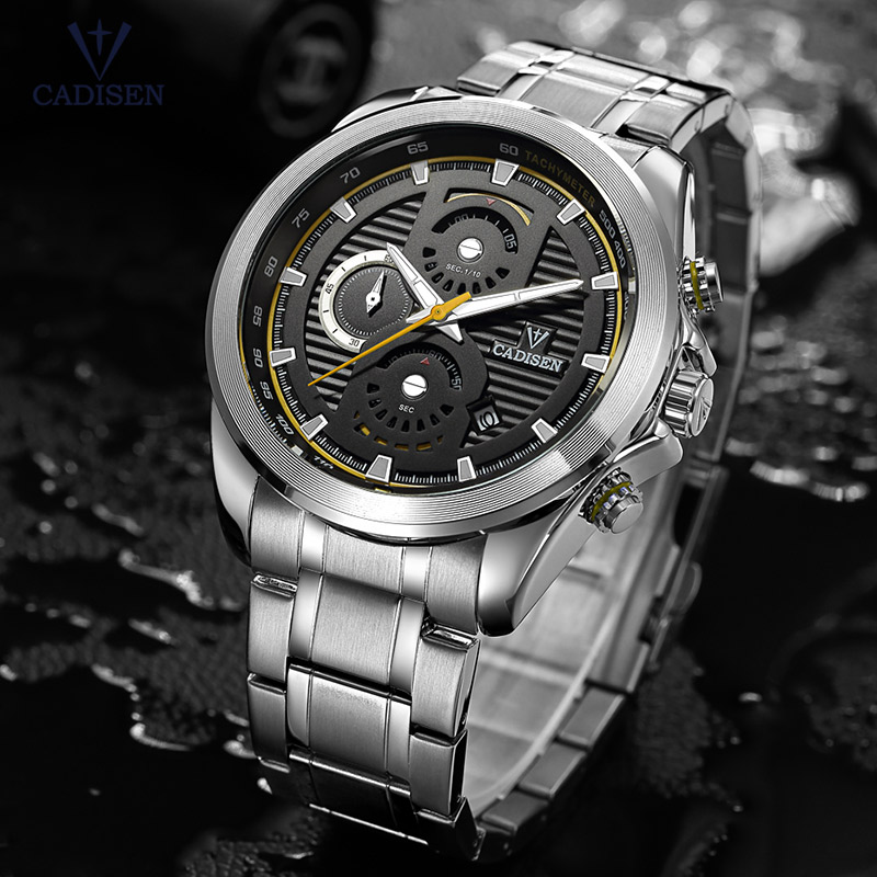 Cadisen Mens Chronograph Analogue Quartz Wristwatches Stainless Steel Band Classic Business Watch for Man Luminous CS9051-2<br>