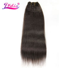Lydia For Women Kinky Straight Weaving 12-22 Inch Synthetic Hair Extension Pure Color #4 Synthetic Hair Bundles(China)