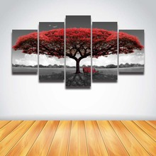 5 panel Printed red tree art scenery landscape modular picture large canvas painting for bedroom living room home wall art decor